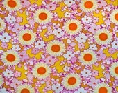 Terry cloth cotton fabric - Mod floral purple orange on yellow
