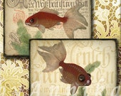 Saltwater fish - 4x3 inch ATC, ACEO cards, Digital Collage Sheet