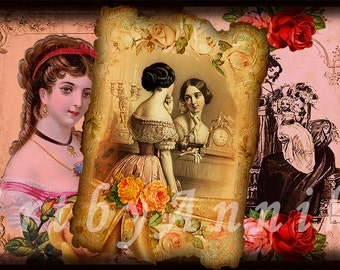 Vintage postcards of medieval girls - 9 Digital ACEO Images