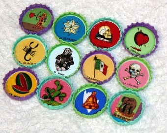YOU PICK Set of 12 Vintage Mexican Lotería Cards Bottlecap Magnets