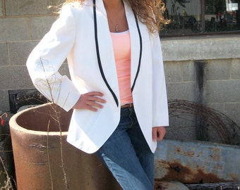 Vintage AFTER SIX Nite Magic white Tuxedo My Boyfriend's Jacket Blazer-SZ 43-dress it up or down