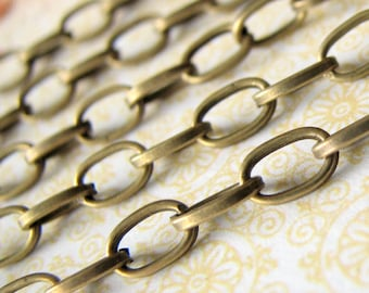 Bronze Chain: 10 Feet Antique Bronze Oval Link Chain - Open Link Oval Vintage Style Chain - 3.8mm x 6.9mm x 1mm -- Lead & Nickel Free 027.1