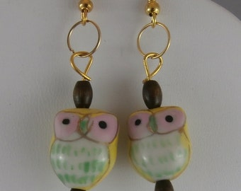 Gold, Yellow, and Pink Lampwork Owl and Wood Bead Earrings