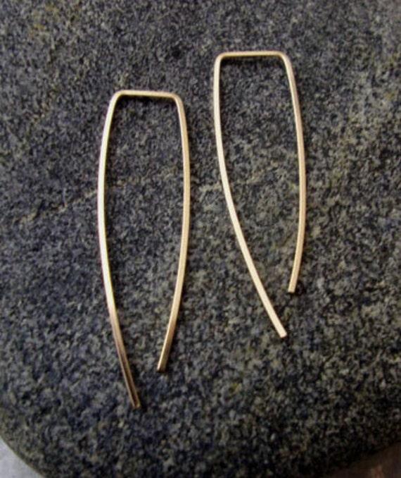 Gold Hoops - Wire earrings - hoop earring - minimalist earrings - nickel free earrings - rose gold earrings - square hoops - everyday hoops