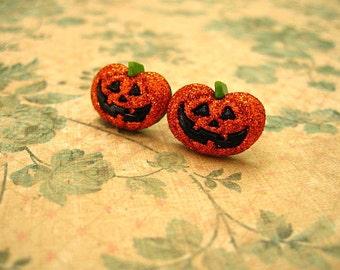 Halloween Ghose Pumpkins Earrings, Halloween Ghost Earrings, Halloween Jewelry, Orange Earrings