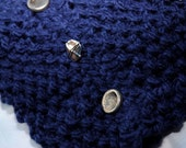 Infinity Scarf, Hand Knit, Navy Blue, Chunky, Cowl, Metal Buttons