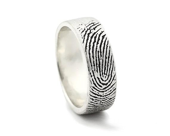 Custom Fingerprint Ring - Sterling Silver Engraving Wedding Band- satin, antique blackened,6mm