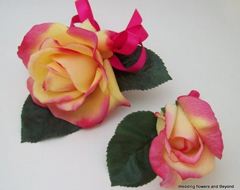 Hot Pink and Yellow Real Touch Corsage and Boutonniere Set Prom, Wedding, Graduation, Mothers Day