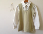vintage shirt tunic small long sleeve olive green tan beige cream layered look