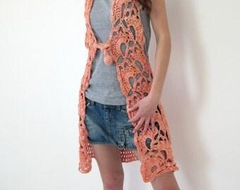 Flower crochet long vest in salmon, orange for spring summer