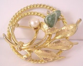 VINTAGE 60's and Signed Sarah Coventry Brooch with Jade and Pearl - Sarah Coventry, Vintage, brooch, 60's
