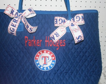 Texas Rangers Blue Quilted Large Tote Bag Custom Embroidery