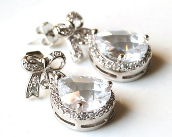 Bridal Jewelry Earrings, Clear White Crystal, Zirconia Earrings, Silver Earrings, Wedding, Bridal, Bridesmaid, Clear, White