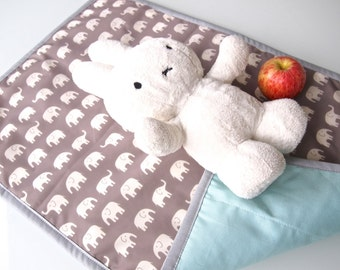 Portable Baby Changing Pad / Change Mat with Organic Cotton and Waterproof Nylon (Grey Elephant and Light Blue)