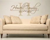 Extra large Family name and year established monogram vinyl wall decal
