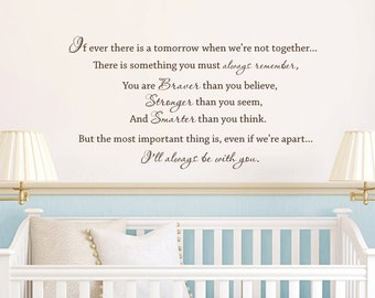 Winnie the Pooh quote vinyl wall decal