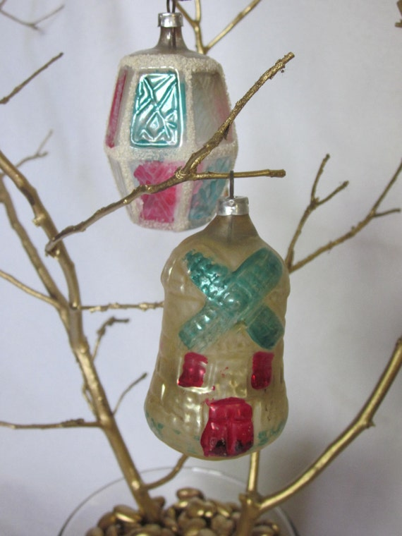 Items similar to Vintage Christmas Ornaments Set of 2