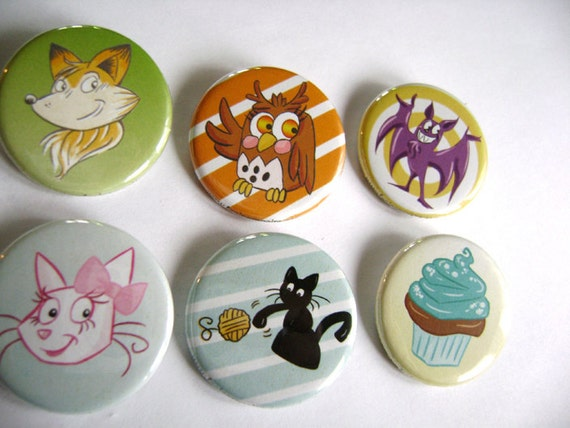 "Cute Funny Pinback Buttons - Set of 3 1.25"" - Childrens Animals Cartoons Illustration Designs"