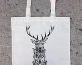 Cotton Canvas Tote Bag - Elk Wolf Bear Totem
