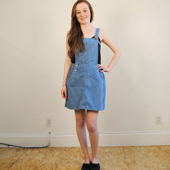 vintage overall dress blue denim jean size s