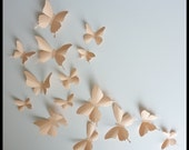 3D Wall Butterflies - 20 Light Peach Butterfly Silhouettes, Nursery, Home Decor, Wedding