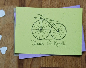 Plantable Seed Paper Thank You Card, Vintage Bicycle
