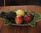 vintage BOWL OF FRUIT, Portuguese, ceramic, kitsch