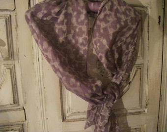 SUMMERY LILAC SCARF. silvery embroidery, spring, summer, floaty, flowers