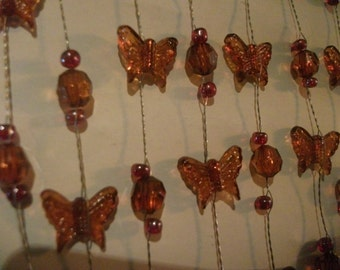 BUTTERFLIES ON WIRE, amber, red, crafting, home decor, tree decor