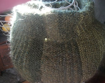 luxury mohair FLUFFY KNITTED COWL, olive green khaki, chartreuse, subtle metallic accents