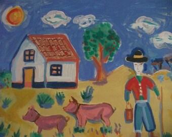 SALE..NAIVE Portuguese PAINTING, original , vintage, folk art,traditional, farming, rustic
