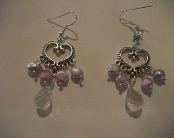 ROSE QUARTZ EARRINGS, silver, heart, mothers day, wedding, pearls, pink