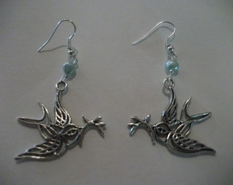 SILVER BIRD EARRINGS, sky blue freshwater pearls, mothers day, everyday jewelry, affordable