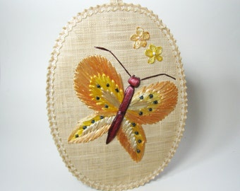 1970s Straw Butterfly Wall Hanging