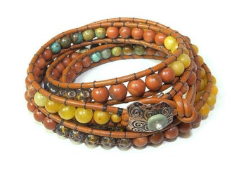 Turquoise and Mixed Metals, Sonora Sunrise Four Wrap Leather Bracelet B106