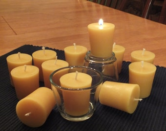 Pure beeswax flat votive candles - One dozen (12)