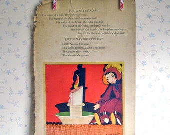 Vintage Art Deco Mother Goose Illustration - Nanny Etticoat/Twinkle Little Star