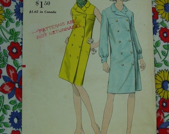 Vintage Pattern 1960's Vogue No.7016 Double Breasted Coat Dress, Size 16