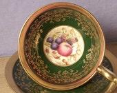 Antique Aynsley tea cup and saucer set, English tea set bone china tea cup, D. Jones fruit cup, green and gold tea cup RESERVED 4 jamie