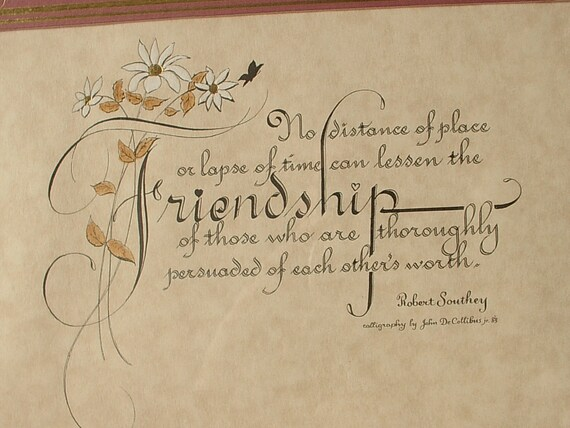 Vintage Framed Friendship Quote By Robert Southey By