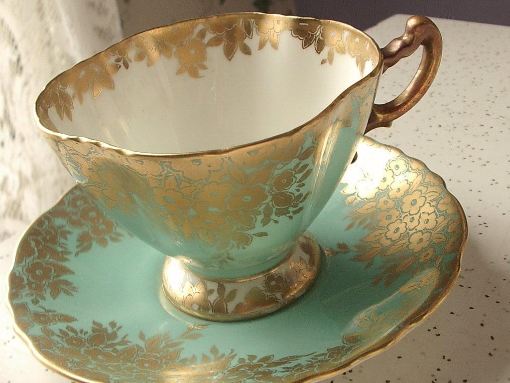 vintage turquoise green tea cup and saucer set by. Black Bedroom Furniture Sets. Home Design Ideas