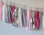 Vintage Inspired Pink 27 Sparkle & Shine Tissue Tassel Garland