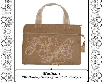 "PDF Sewing Pattern Kindle, Kindle Fire, Nook, Nook color, Sony, Kobo case cover with pocket zipper handles fully lined ""Madison"""