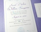 Beach Wedding Invitation Pocketfold Elegant Sea Shell Lavender Blue Classic Script Custom Seashore Ocean Invite Scroll Scallop Shell