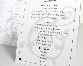 Wedding Reception Menu Tent Card: Custom Options Beach Wedding, Traditional Black and White, Natural, Modern