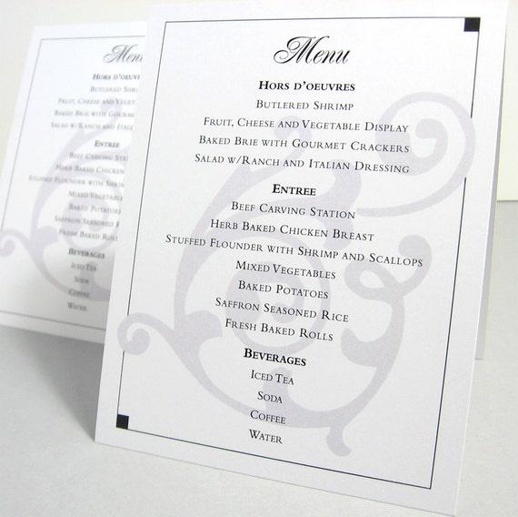 Wedding Reception Menu Tent Card Custom Options Beach