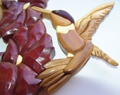 HUMMINGBIRD and Trumpet Flower Hand Carved Wood Art Intarsia