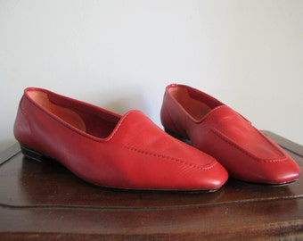 80s Red Flats / Vintage Red Leather Shoes / Size 5.5