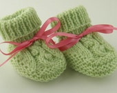 Baby Booties Hand Knit in Mint Green Newborn - BabywearbyBabs