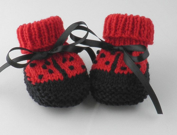 Handknit Baby Booties Baby Shower Gift Hand Knit Newborn Lady Bug Baby Shoes